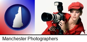 Manchester, New Hampshire - a female photographer with a camera and a tripod